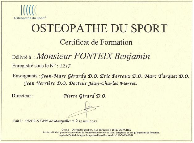 certif osteo sport et urgence